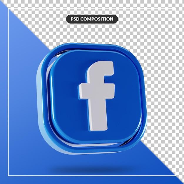 光沢のあるfacebookのロゴは3dデザインを分離しました Premium Psd