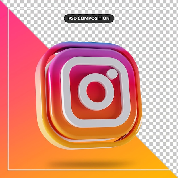 Glossy instagram logo isolated 3d design Premium Psd