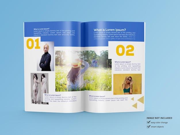 光沢のある雑誌のモックアップデザインのレンダリング Premium Psd