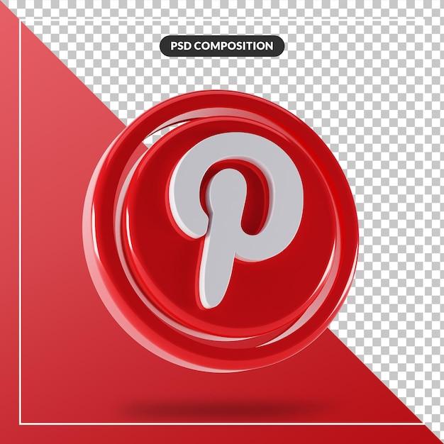 光沢のあるピンタレストロゴ分離3dデザイン Premium Psd