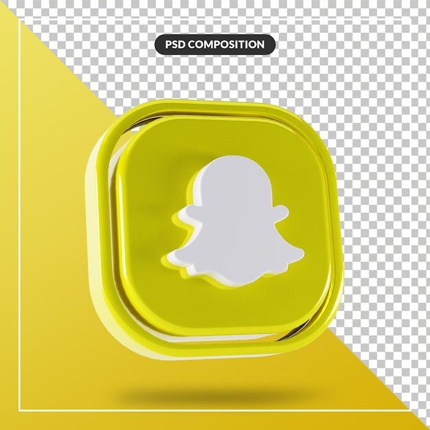 光沢のあるsnapchatロゴ分離3dデザイン Premium Psd