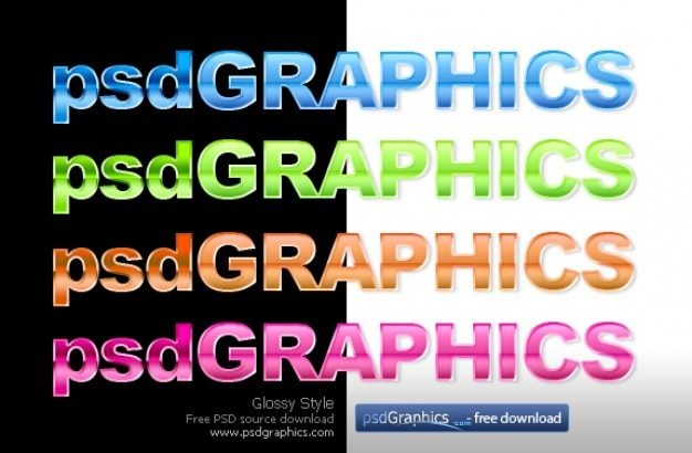 glossy text photoshop style psd file free download