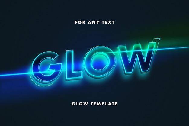 Шаблон текстового эффекта светящейся неоновой надписи Premium Psd