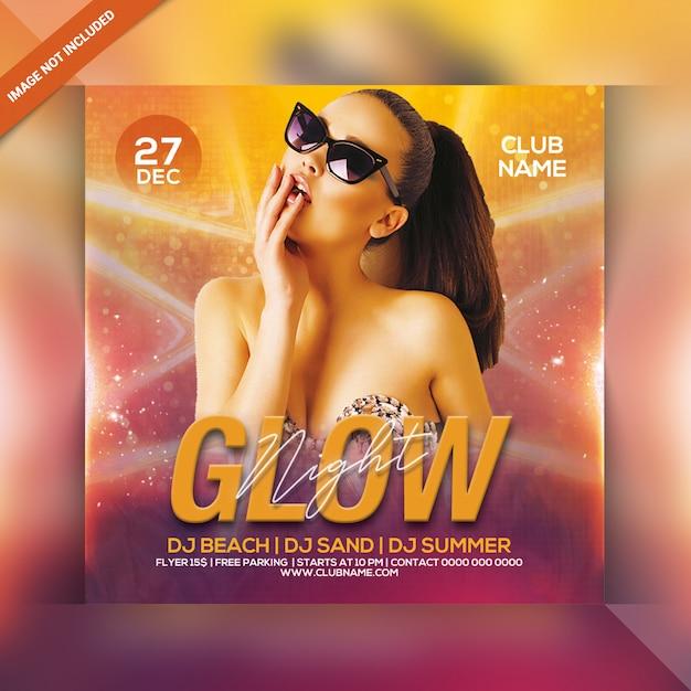 Glow night party flyer Premium Psd