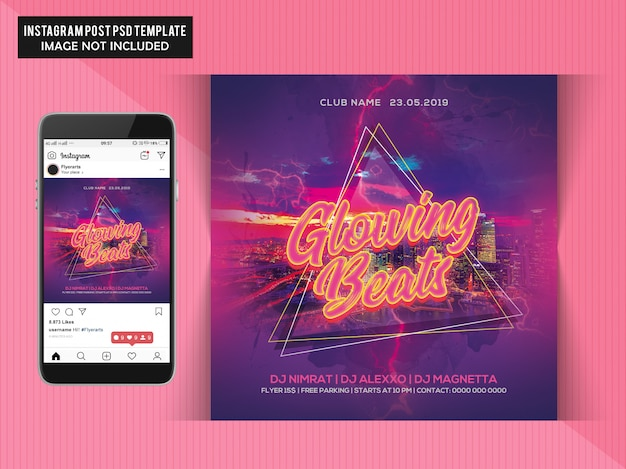 Glowing beats party flyer Premium Psd