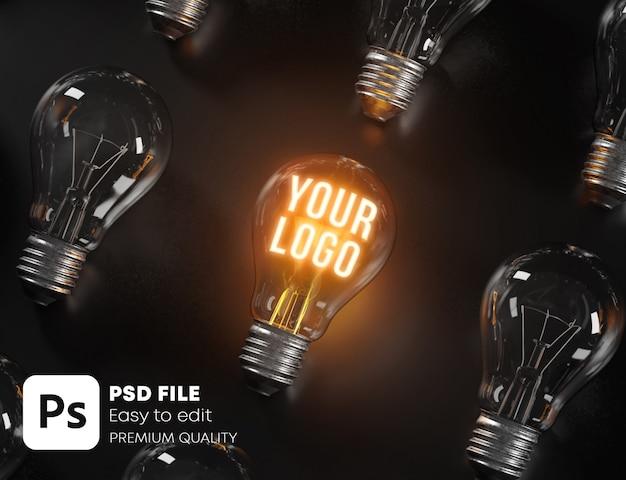 Glowing bulb between many unlit bulbs Premium Psd