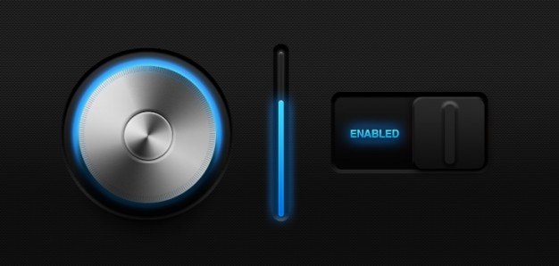 Glowing volume knob & ; switch  psd Free Psd