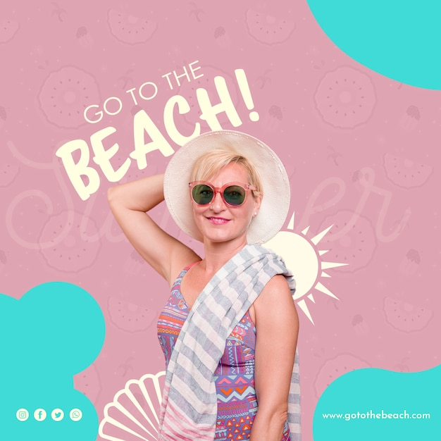 Go to the beach template Free Psd