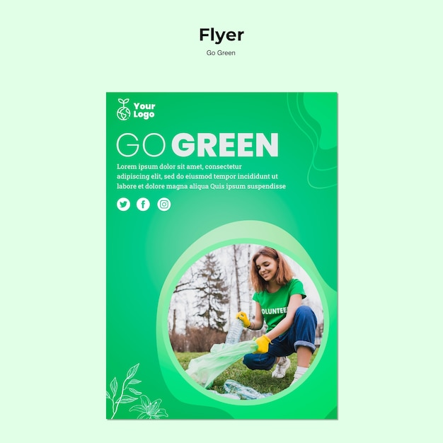 Go green environment flyer template Free Psd