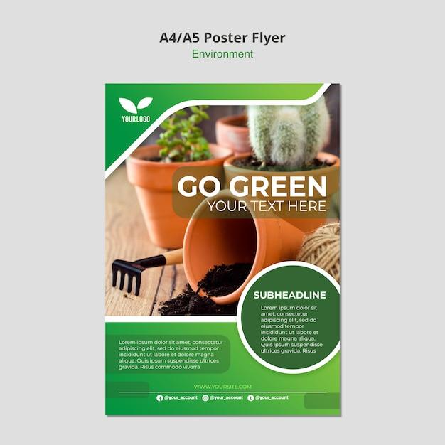 Vai modello di poster ambientale verde Psd Gratuite