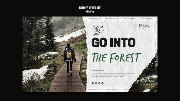 Go into the forrest banner template Free Psd