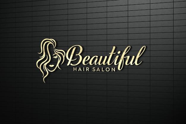 Gold 3d logo mockup on wall in black Premium Psd