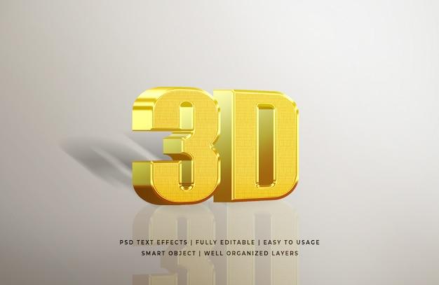 Золото 3d эффект стиля текста Premium Psd