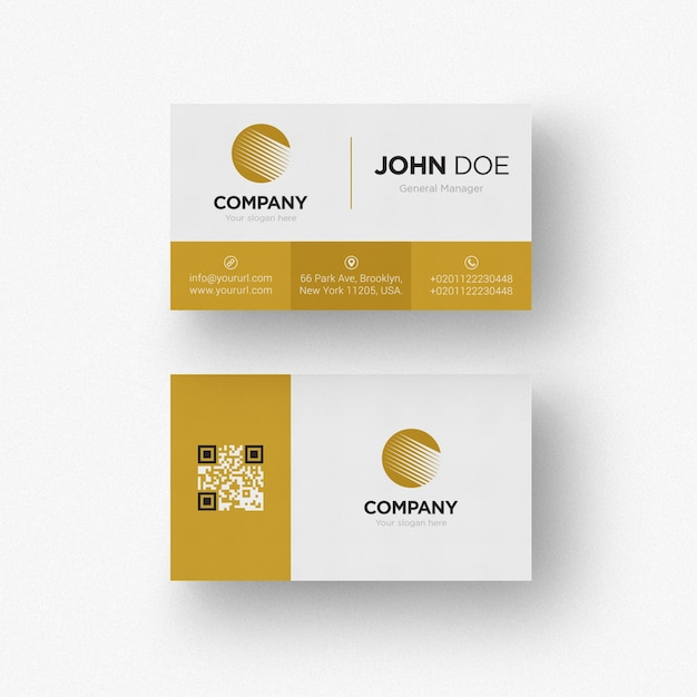 Gold and white business card PSD file