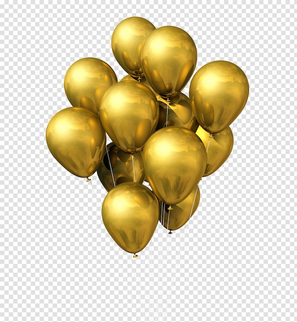 Gold balloons group isolated on white Premium Psd