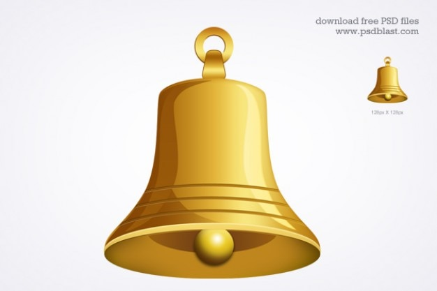 Gold bell icon  psd Free Psd