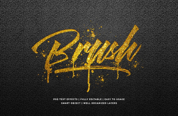 Gold brush text style effect Premium Psd