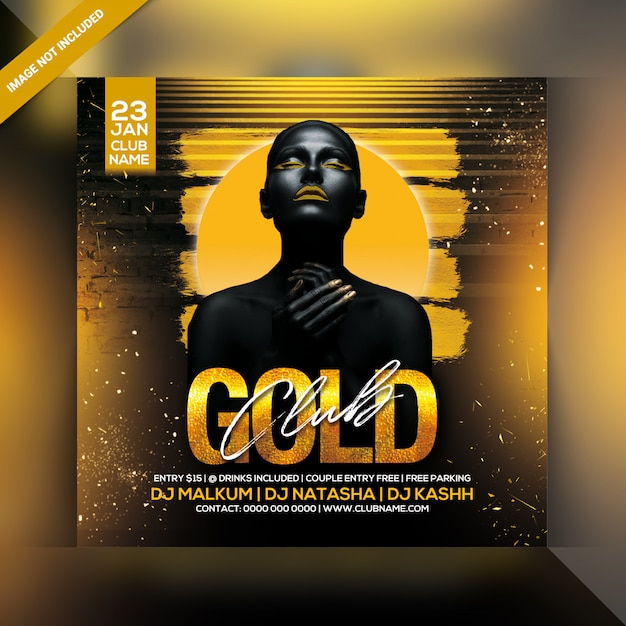 Gold club party poster Premium Psd