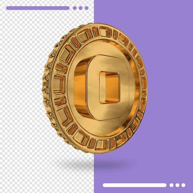 Золотая монета и номер 0 3d-рендеринга Premium Psd