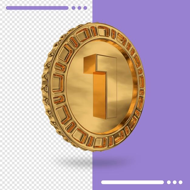 Золотая монета и 3d-рендеринг номер 1 Premium Psd