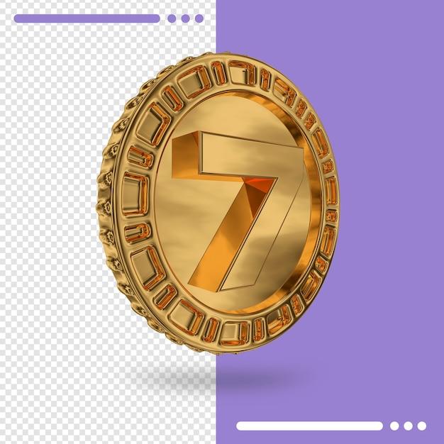 Золотая монета и 3d-рендеринг номер 7 Premium Psd