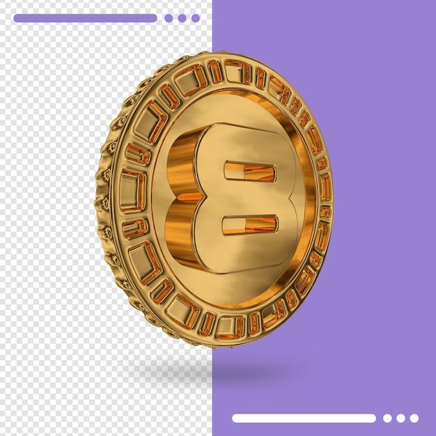 Золотая монета и 3d-рендеринг номер 8 Premium Psd
