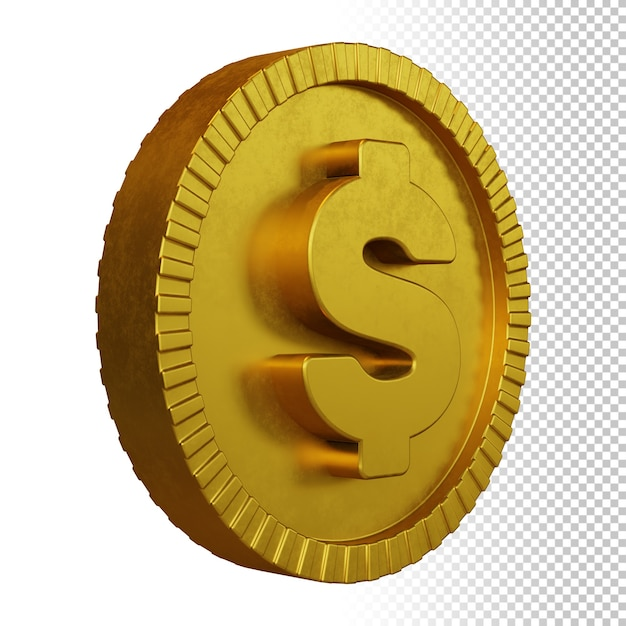 Gold coin dollar currency symbol 3d rendering isolated Premium Psd