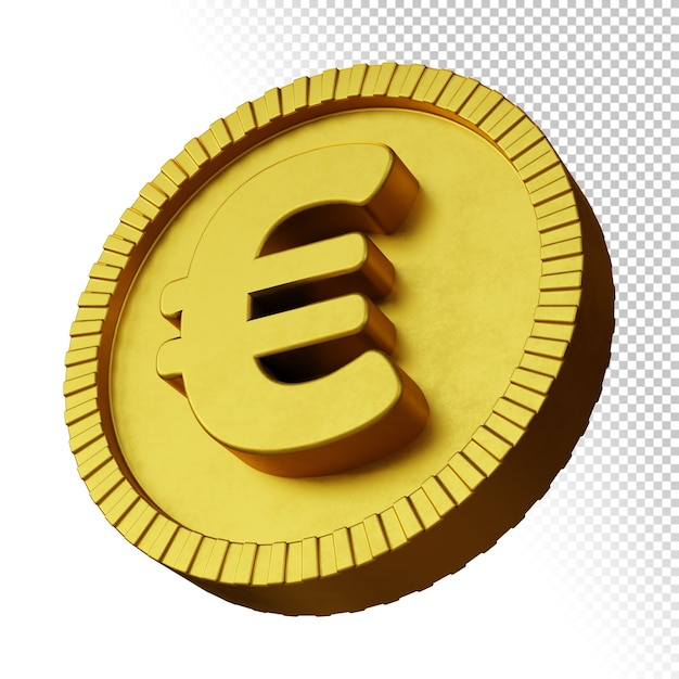 Gold coin euro currency symbol 3d rendering isolated Premium Psd