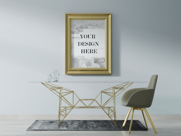 Gold colour wall frame mockup with modern furniture Premium Psd
