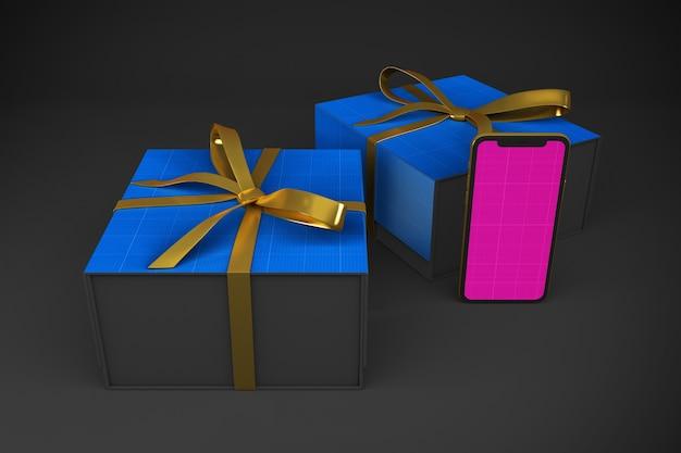 Мокап приложения gold & dark shopping Premium Psd