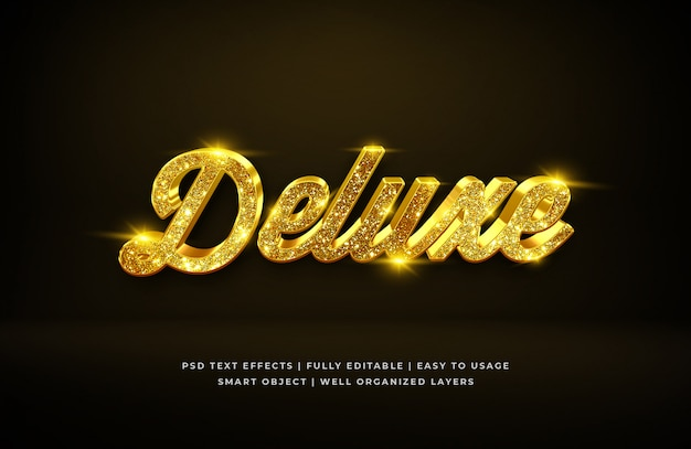 Gold deluxe luxury 3d text style effect Premium Psd