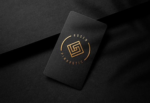 럭셔리 블랙 명함에 골드 양각 로고 이랑 프리미엄 PSD 파일