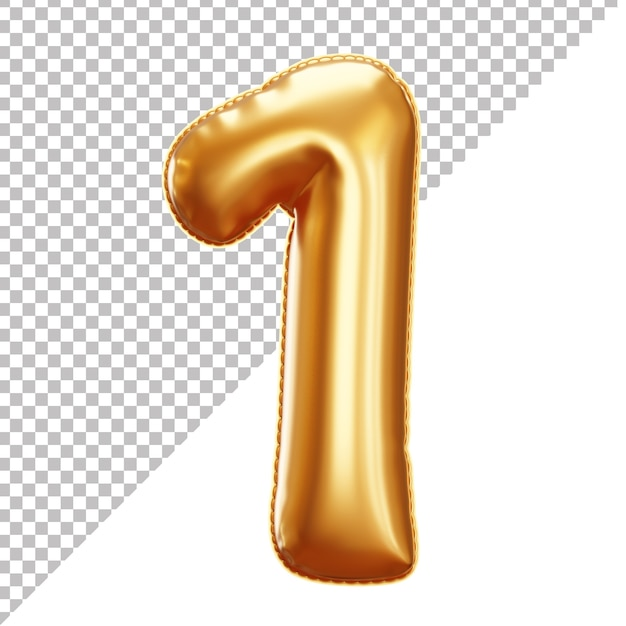 Gold foil balloon of 1 number 3d isolated Premium Psd