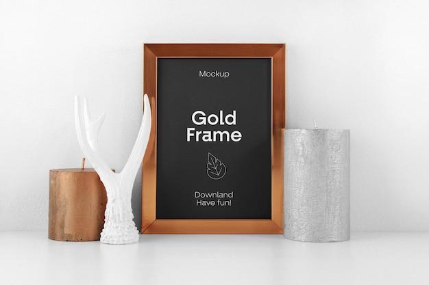 Gold frame psd mockup Premium Psd