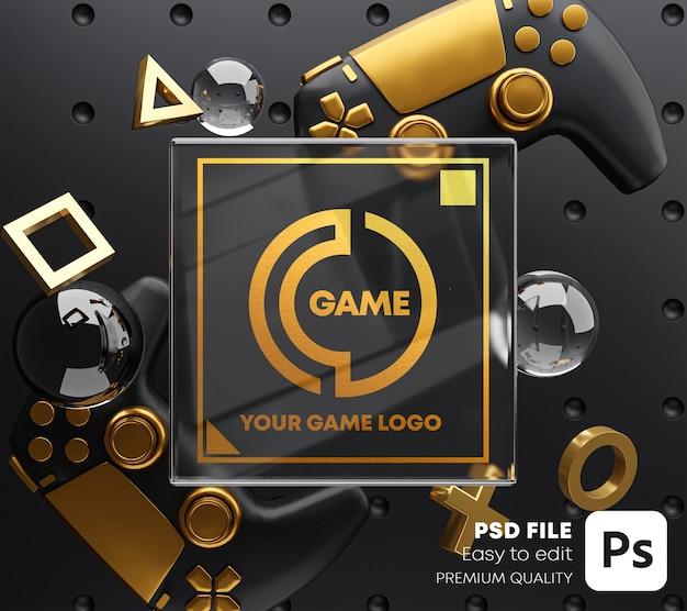 게임 패드 용 골드 글래스 로고 골든 목업 프리미엄 PSD 파일