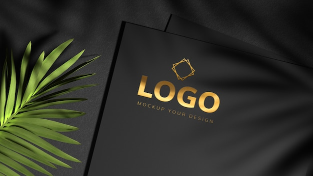 Gold logo mockup design with shadow leaves Premium Psd