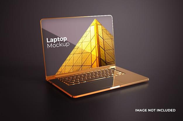 ゴールドのmacbook proのモックアップ Premium Psd