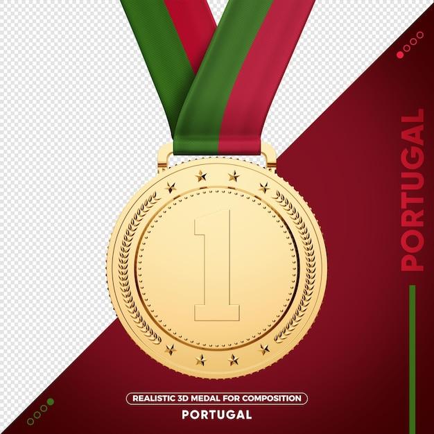 Золотая медаль флаг португалии за состав Premium Psd