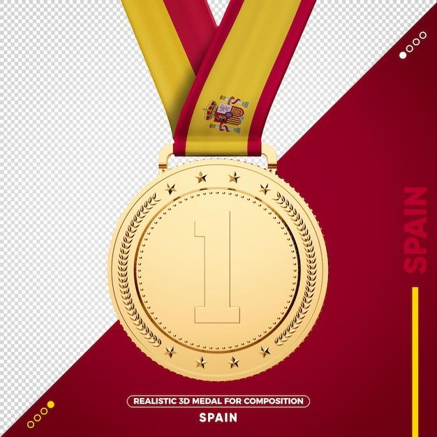 Золотая медаль флаг испании за состав Premium Psd