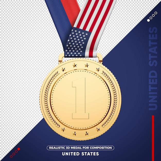 Золотая медаль флаг сша за состав Premium Psd