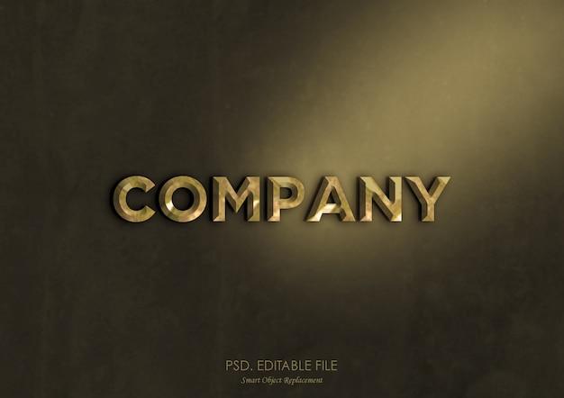 Золотой металлик с текстовым эффектом, макет логотипа Premium Psd