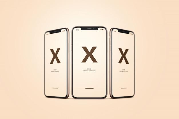Золотой макет мобильного телефона Premium Psd