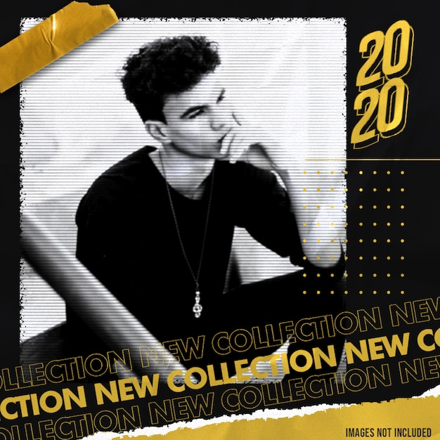 Gold new collection social media banner template with street style effect Premium Psd