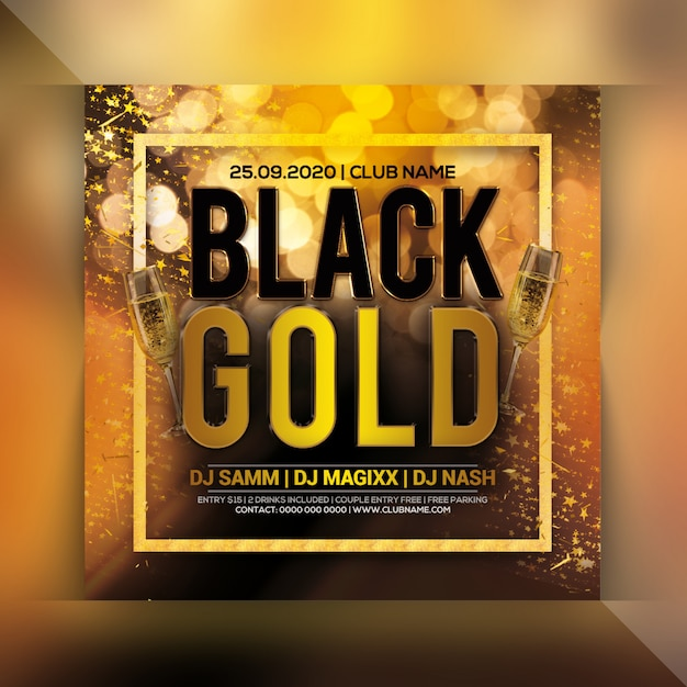 Gold party flyer Premium Psd