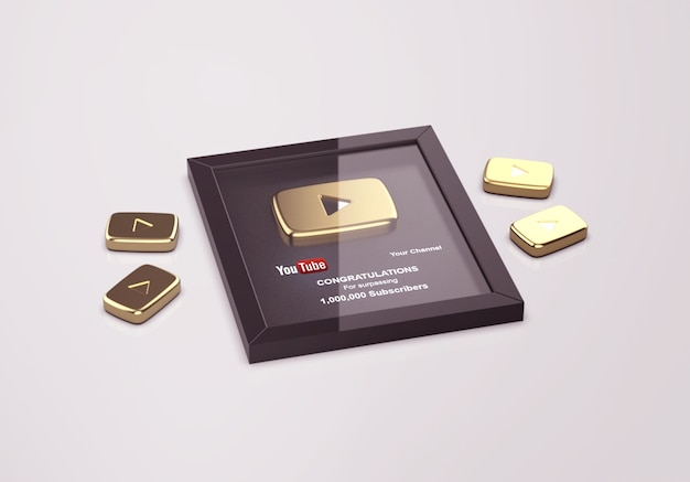 Gold play button youtube mockup Premium Psd