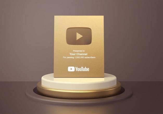 Золотая кнопка воспроизведения youtube на макете пьедестала круглого подиума Premium Psd