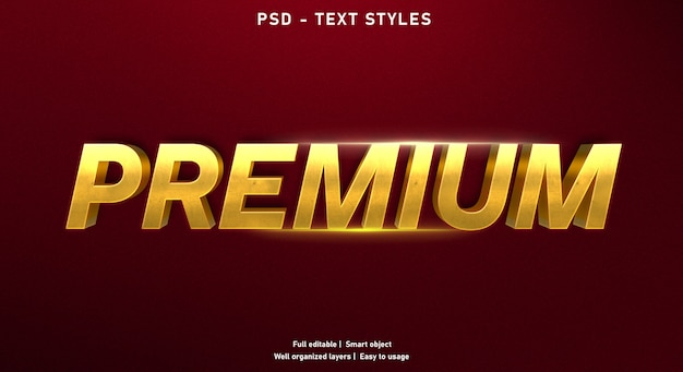 Gold premium text effect template Premium Psd