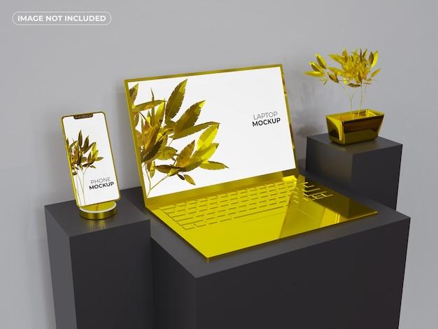 ゴールドのスマートフォンとラップトップのモックアップ Premium Psd