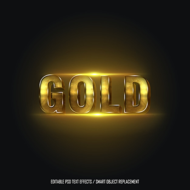 Gold style 2 editable text effect Premium Psd