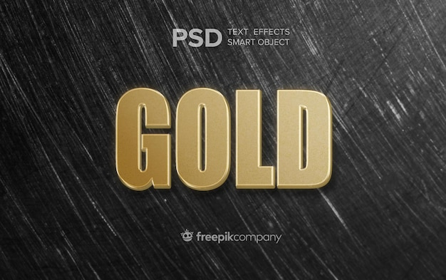 Gold text effect on dark background Free Psd